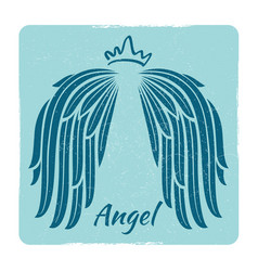 elegant grunge emblem with angel wings vector image vector image