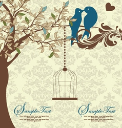 Love Birds Sitting In a Tree Wedding Invitation vector image