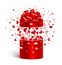 Open gift with flying hearts vector image