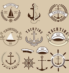 Set of the yachting labels and design elements vector image vector image