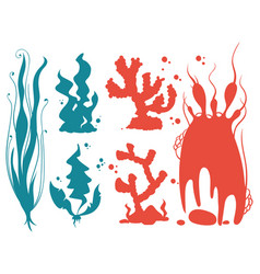 underwater plants and corals silhouettes vector image