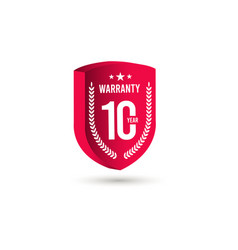 10 years warranty 3 d label logo template design vector