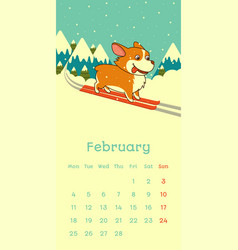2019 february calendar with welsh corgi dog skying vector