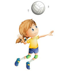 A young woman playing volleyball vector
