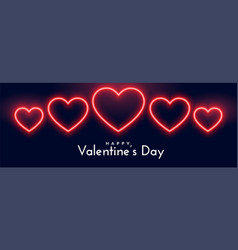 beautiful neon hearts banner for valentines day vector image
