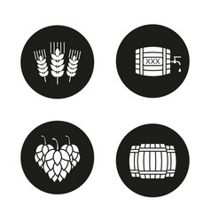 Beer glyph icons set vector