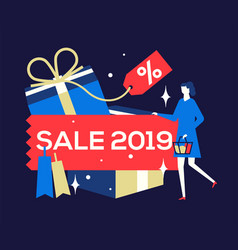 big sale 2019 - flat design style colorful vector image