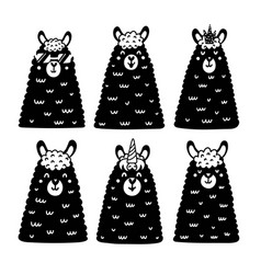 black and white llamas collection cute alpacas vector image