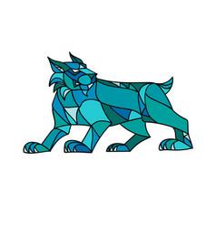 Bobcat prowling mosaic vector