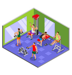 Body building gym isometric composition vector
