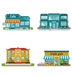 Cafe Buildings Flat Set vector image