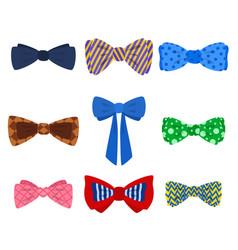 cartoon color bow tie icon set vector image