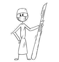 Cartoon doctor surgeon holding big scalpel vector