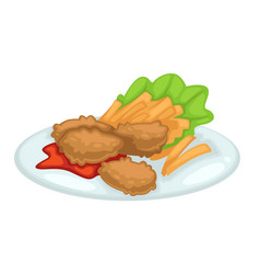 Chicken cutlet with french fries ketchup vector