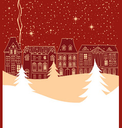 Christmas city background vector