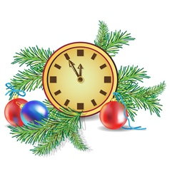 Christmas tree and clock vector image