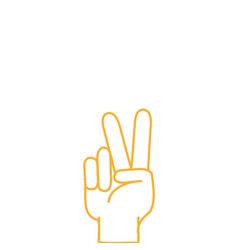 Color line hand with peace and love gesture symbol vector