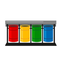 colorful cartoon sorting trash bins vector image