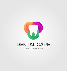 colorful dental care or dentist logo designs in vector image