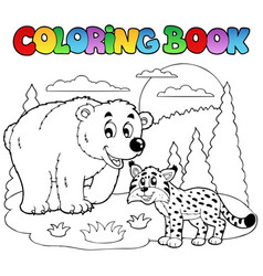 coloring book with happy animals 4 vector image