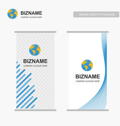 company banners design with logo and blue theme vector image