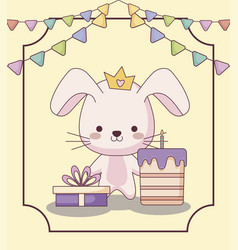 Cute rabbit happy birthday card with cake and vector