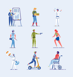 different characters set diversity and lifestyle vector image