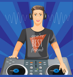 dj in headphones plays music on modern turntable vector image