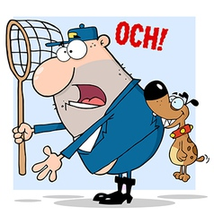 Dog Biting A Dog Catcher vector image