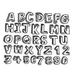 doodles font Handwritten in 3d style vector image