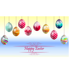 easter eggs on yellow blue background vector image