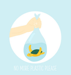 eco concept poster with marine turtle vector image