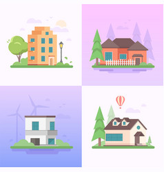 eco-friendly place - set of modern flat design vector image