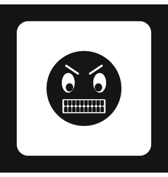Emoticon in anger icon simple style vector