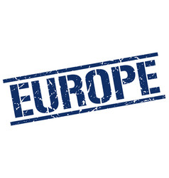 europe blue square stamp vector image