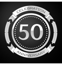 Fifty years anniversary celebration with silver vector