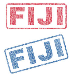 Fiji textile stamps vector