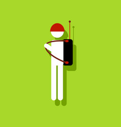 Flat icon design collection soldier holding vector