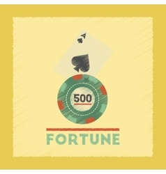 flat shading style icon Fortune chip card vector image