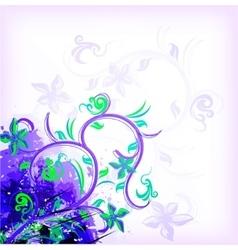 Floral violet on grunge background vector
