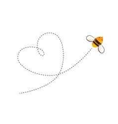 flying bee and heart shape flight trajectory vector image