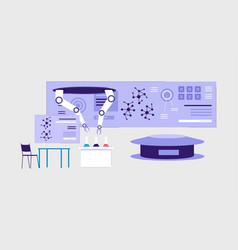 futuristic science laboratory interior - flat vector image