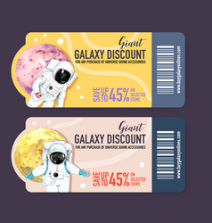 Galaxy ticket design with astronaut planet vector