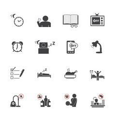 Get up early daily routine icon set vector