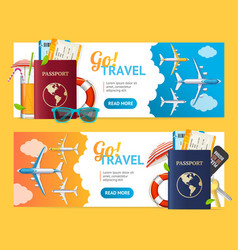 go travel banner horizontal set with realistic vector image