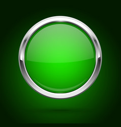 green glass button with metal frame round icon on vector image