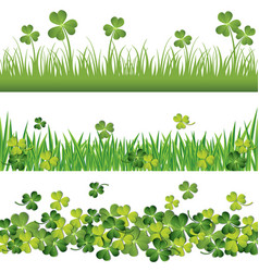green shamrock borders set for st patrick day vector image