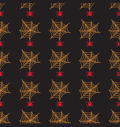 halloween seamless patterns with cobweb and vector image