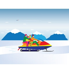 Happy family on a snowmobile in the mountains vector image