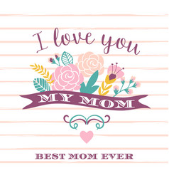 Happy mothers day lettering greeting card with vector